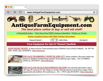 Antique Farm Equipment is a FREE Online Classified Ads Site to BUY or SELL your Antique and Collectible Farm Equipment