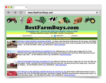 Best Farm Buys is a FREE Online Classified Ads Site to BUY or SELL your New or Used Farm Equipment
