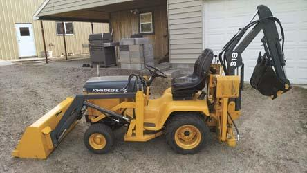 jake tolstedt says he located and saved various parts for his home built loader and mini backhoe for years before he finally started building his - Garden Tractor Loader
