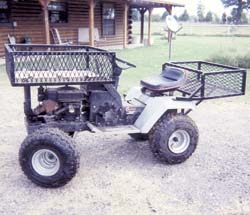 old sears riding lawn mowers. you can make one out of an old riding lawn mower, says lyndal hatton, deberry, texas. sears mowers