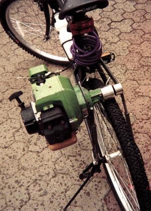 Weed Eater Motor Powers Bike